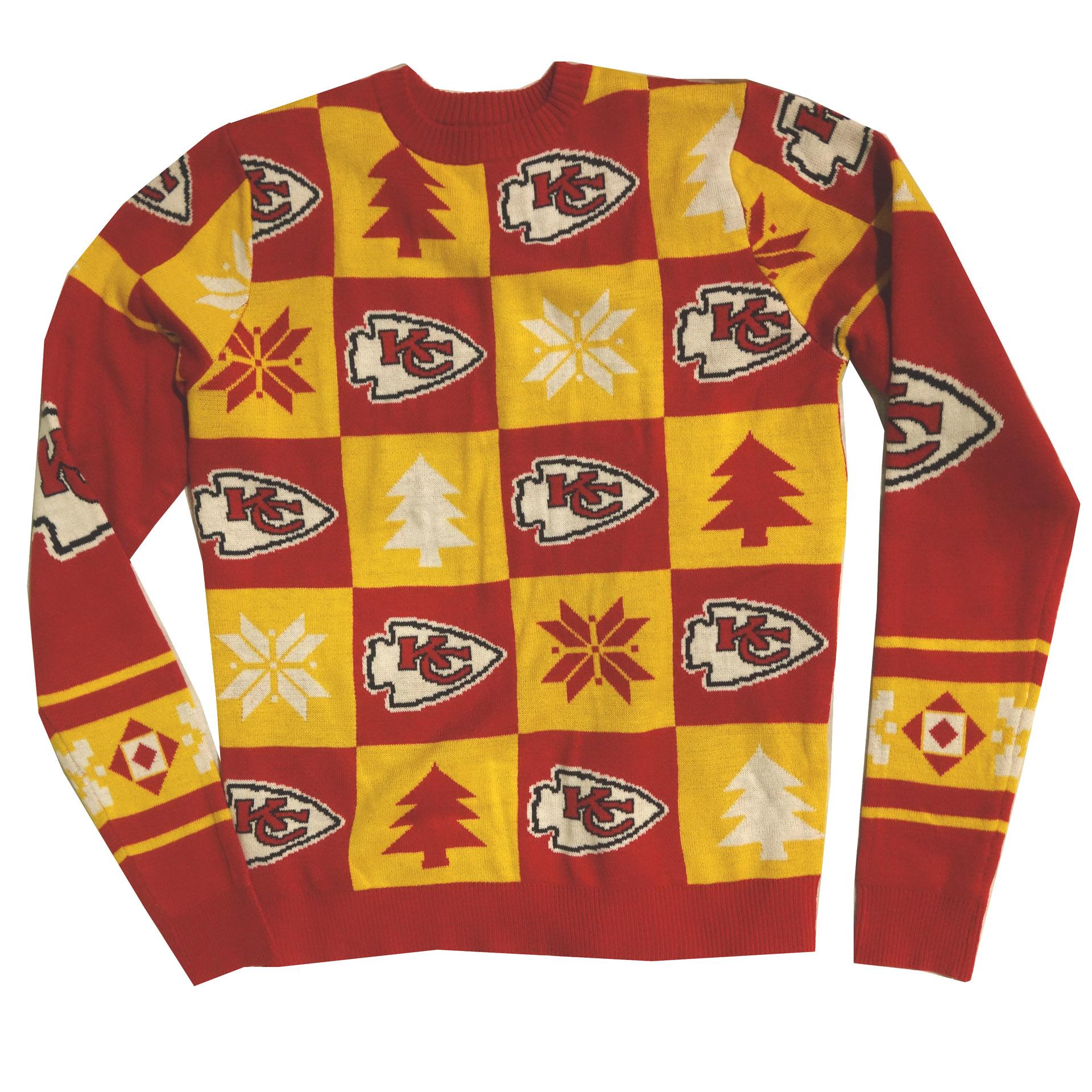 NFL Ugly Sweater Kansas City Chiefs Schachbrettmuster Weihnachtspullover