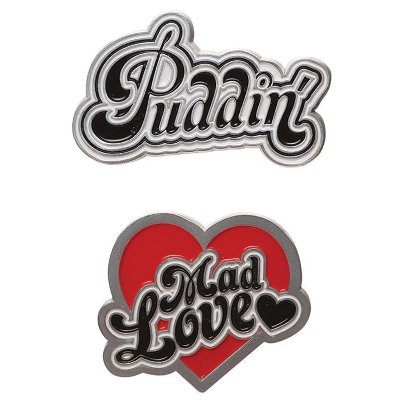 "Harley Quinn 2er Set Pins ""Puddin'"" & ""Mad Love"""