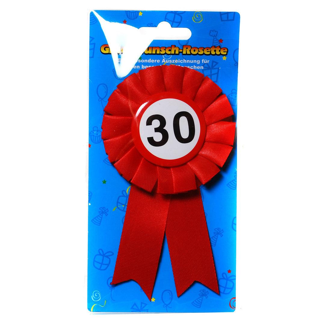 """Geburtstagsdekoration """"30"""" Geschenkidee Rosette Anstecker"""