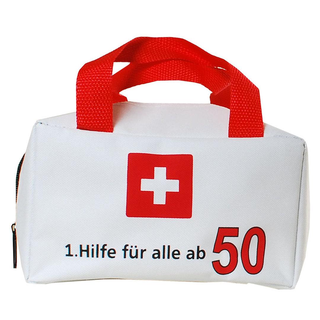 """Geburtstagsdekoration """"50"""" Geschenkidee 1. Hilfe Tasche Spaßgeschenk"""
