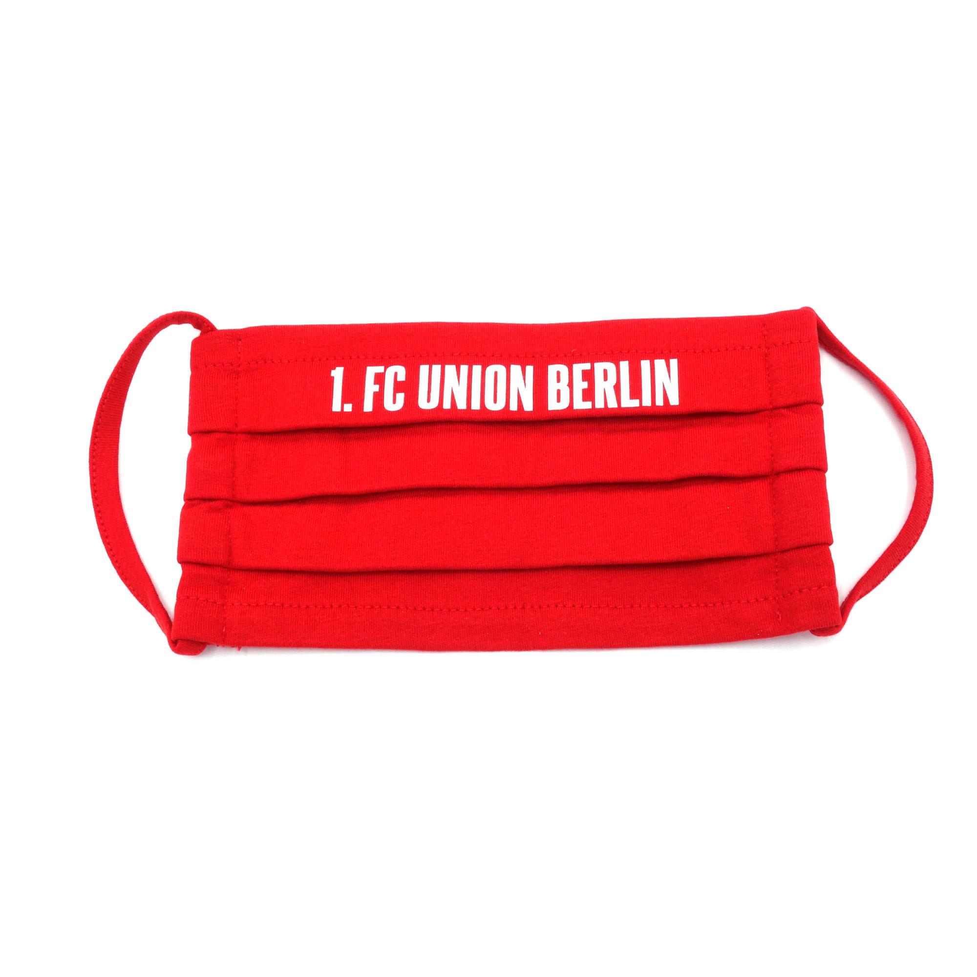 Stoffmaske 1.FC Union Rot Schrift Mund-Nasen-Maske
