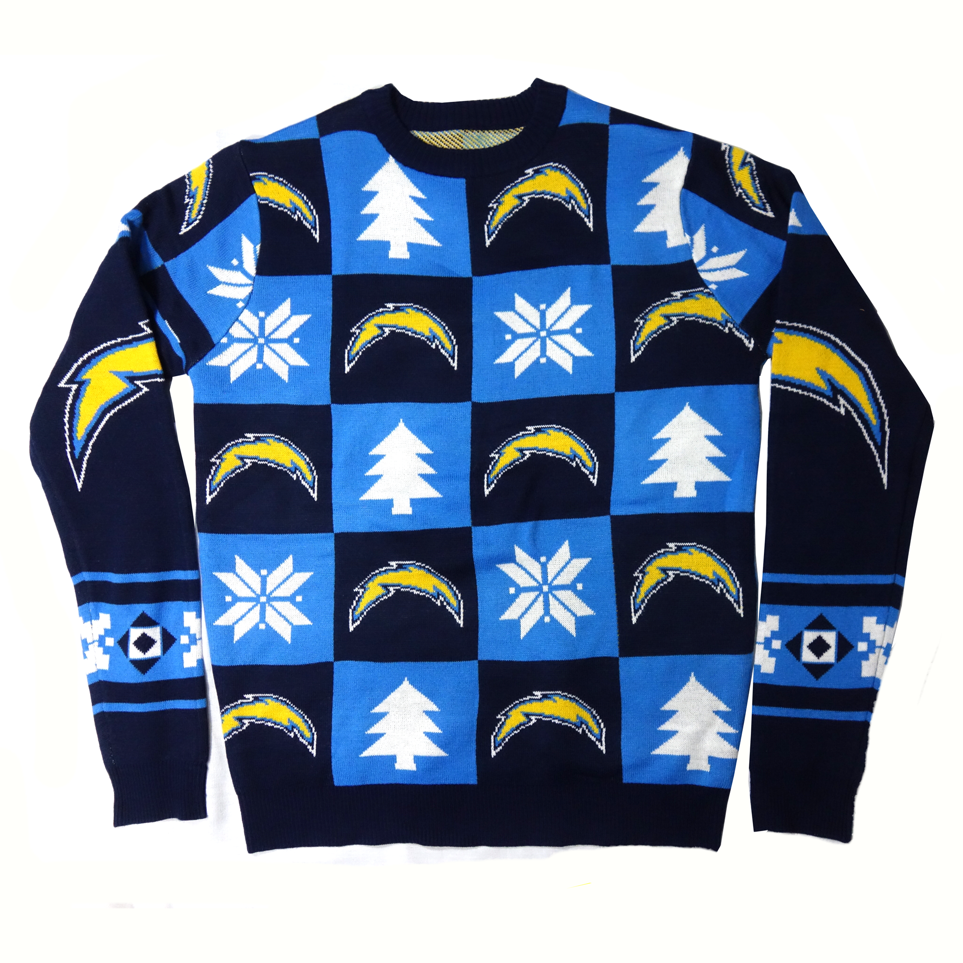 NFL Ugly Sweater Los Angeles Chargers Schachbrettmuster Weihnachtspullover