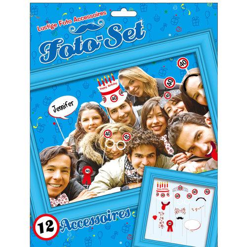 """Geburtstagsdekoration Partyidee Foto-Set """"40"""" Lustige Foto Accessoires"""