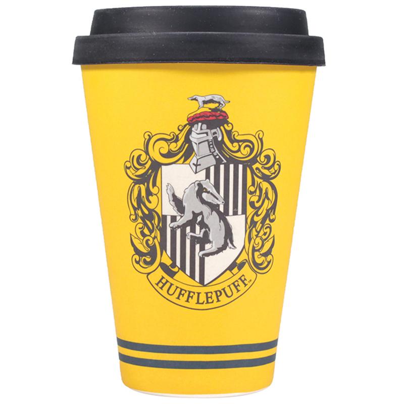 "Harry Potter Bamboo Travel Mug Coffee To Go Becher ""Hufflepuff Crest"""