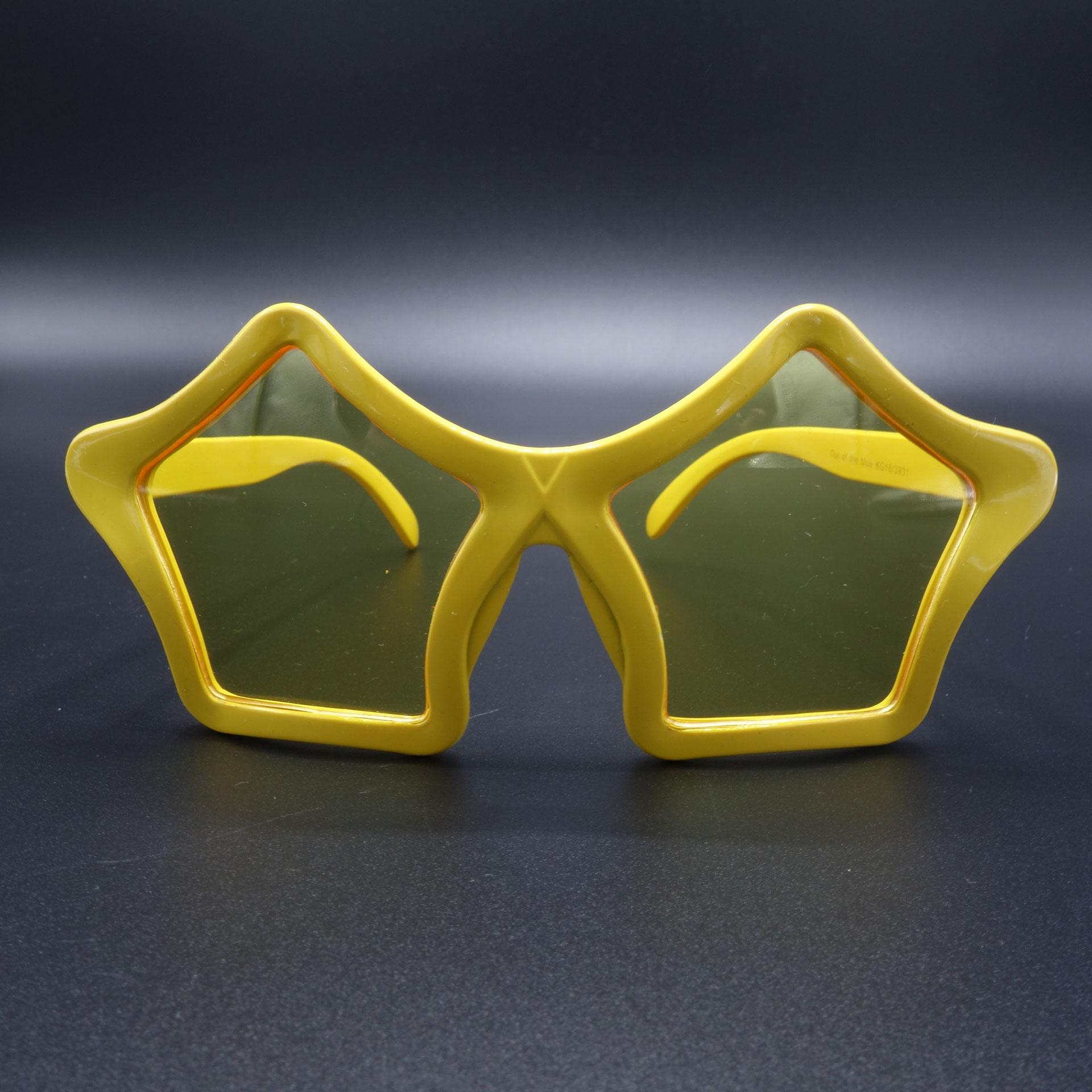 Partybrille Spassbrille Scherzartikel Brille Stern Gelb