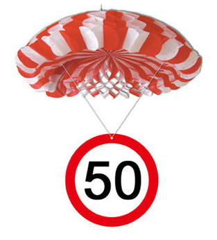 """Geburtstagsdekoration Hänge-Deko """"50"""" Fallschirm"""