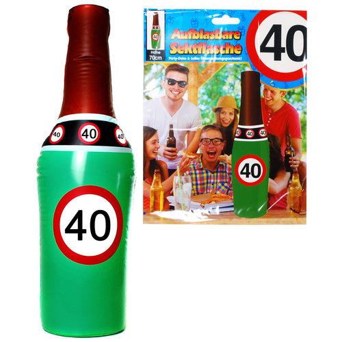 """Geburtstagsdekoration aufblasbare Sektflasche """"40"""" Party-Deko"""