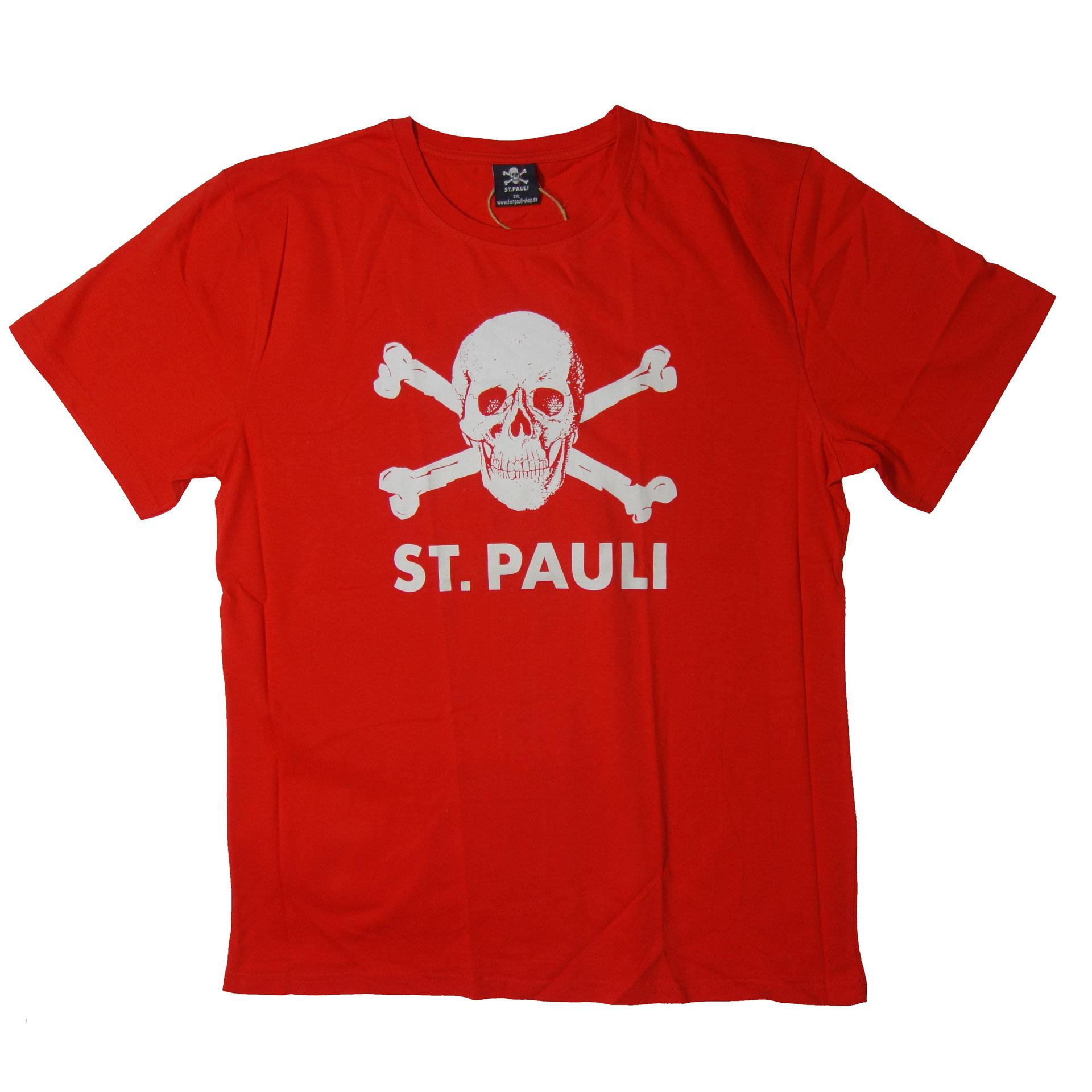 FC St. Pauli T-Shirt Totenkopf rot/weiß