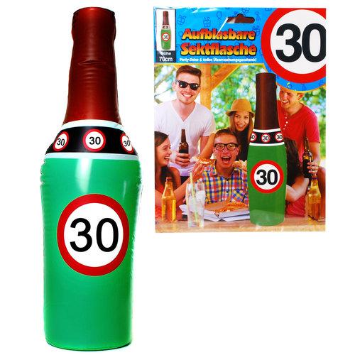 """Geburtstagsdekoration aufblasbare Sektflasche """"30"""" Party-Deko"""