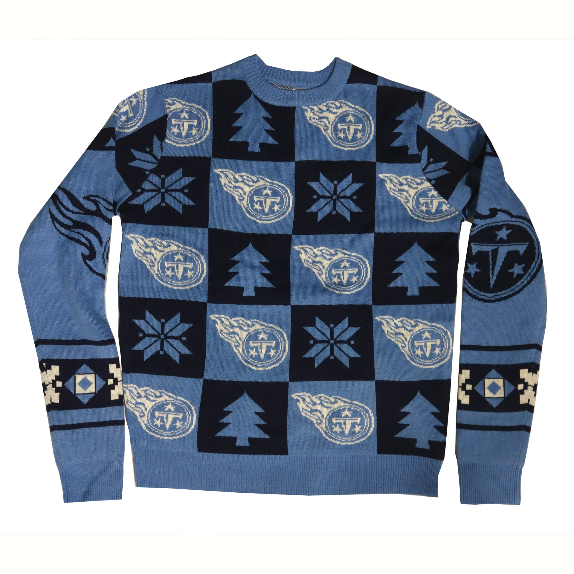 NFL Ugly Sweater Tennessee Titans Schachbrettmuster Weihnachtspullover