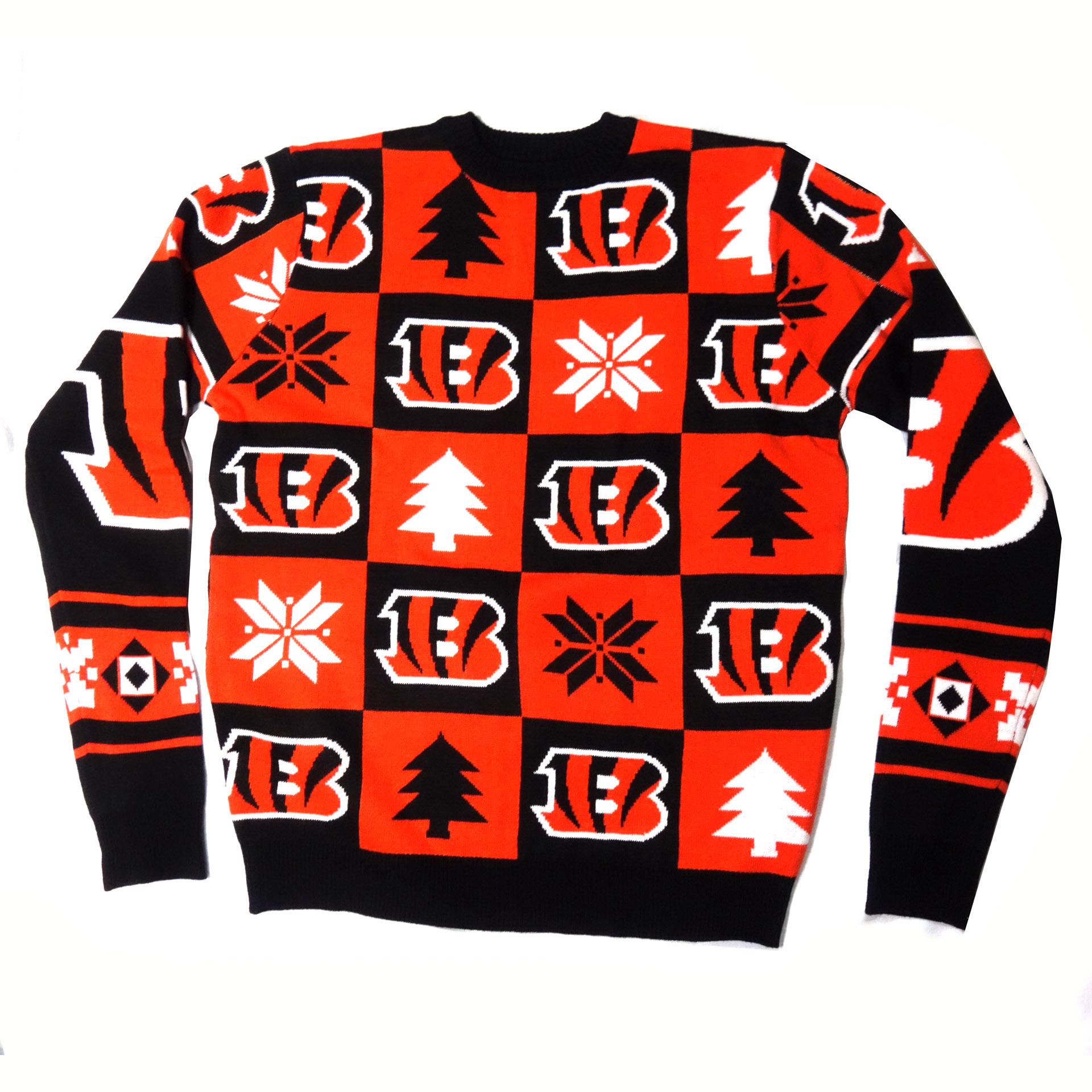 NFL Ugly Sweater Cincinnati Bengals Schachbrettmuster Weihnachtspullover