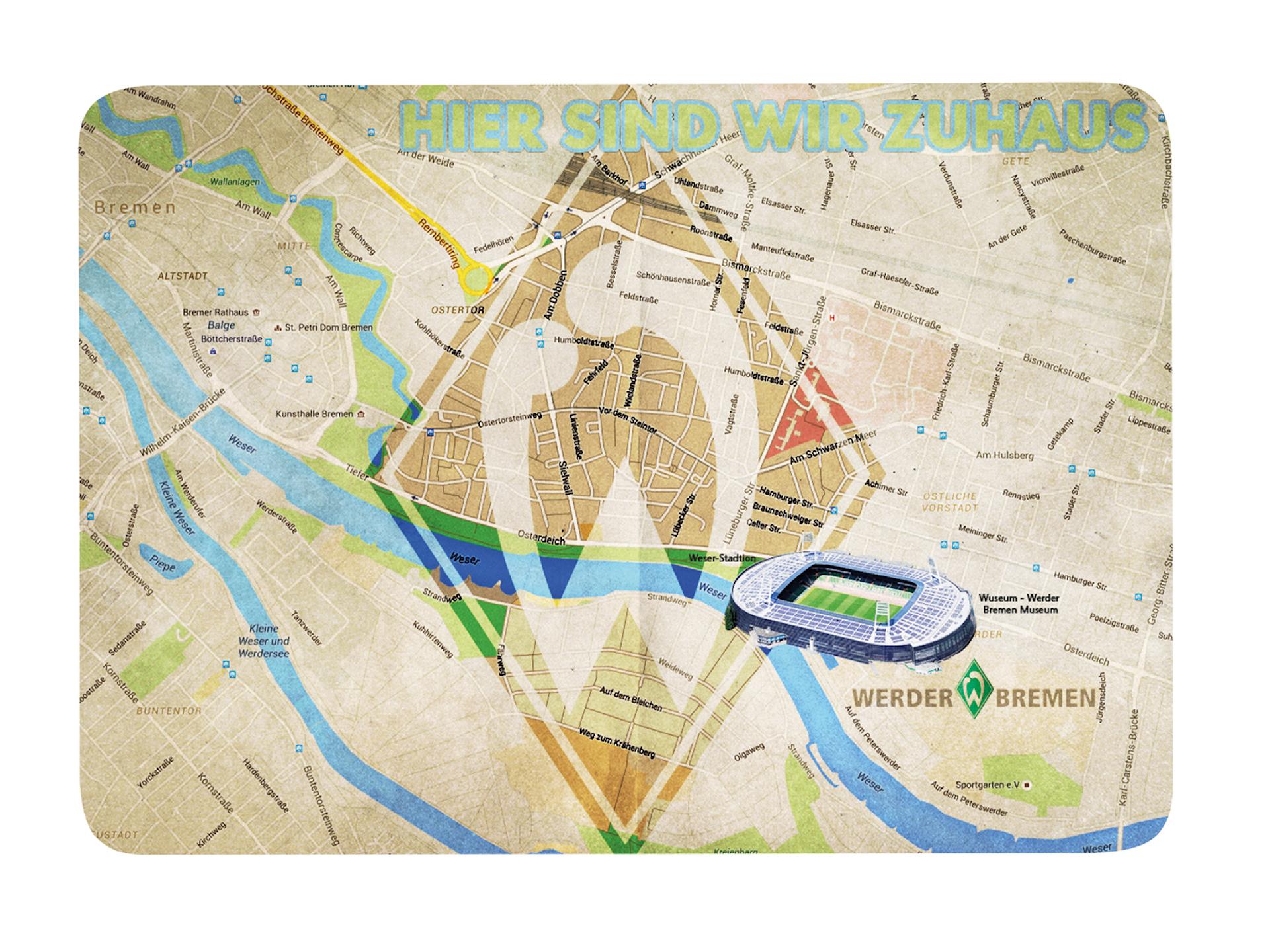 Werder Bremen Frühstücksbrettchen Stadtplan