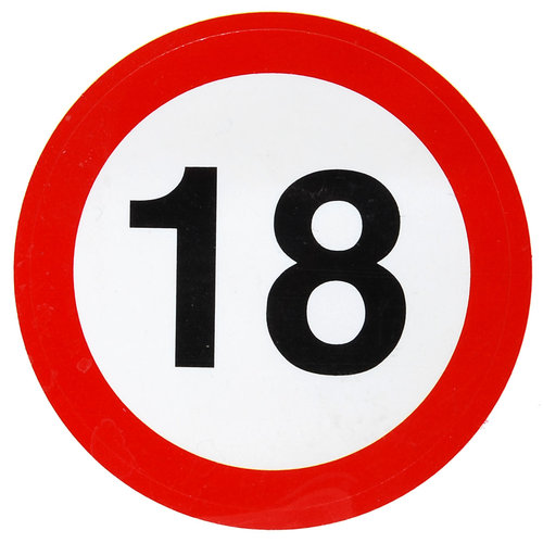 """Geburtstagsdekoration Aufkleber """"18"""" Sticker"""