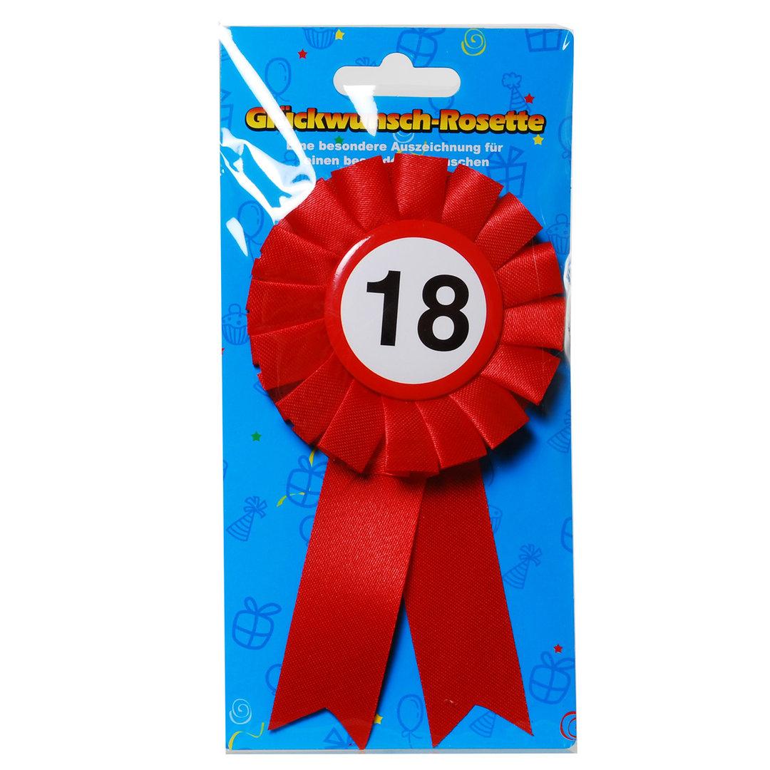 """Geburtstagsdekoration """"18"""" Geschenkidee Rosette Anstecker"""