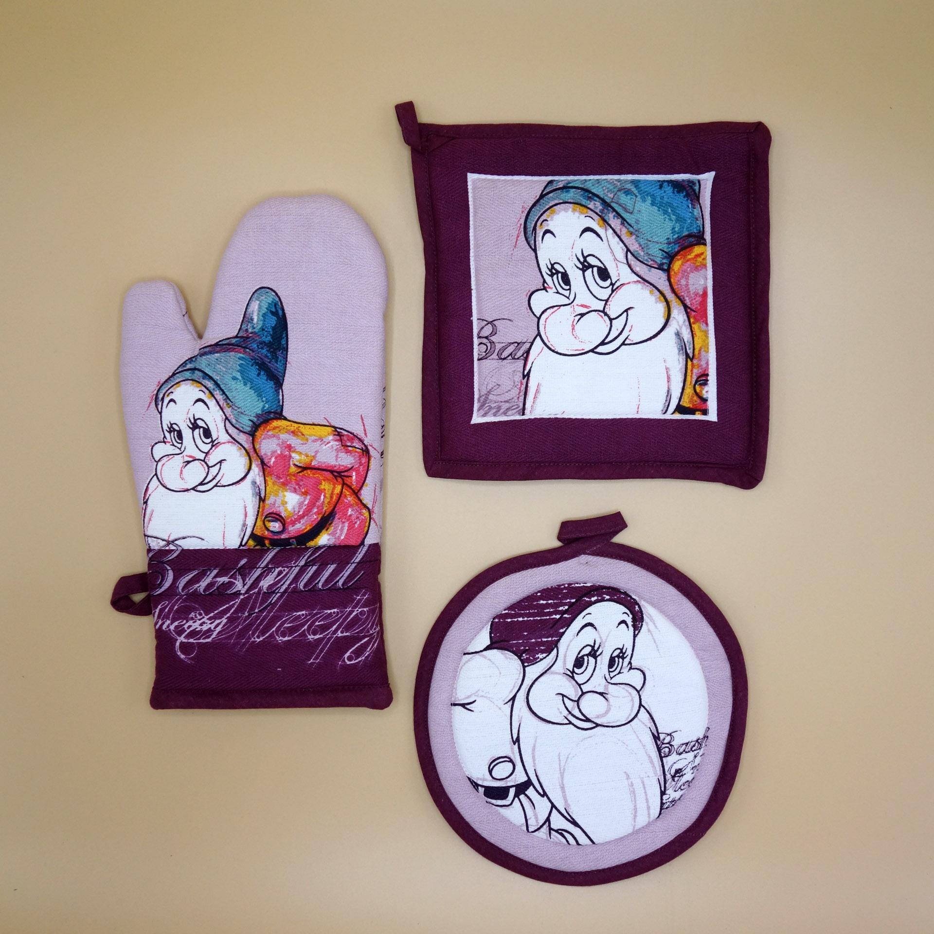 Egan Disney 3-er Set Topflappen Ofenhandschuhe 7 Zwerge Bashful