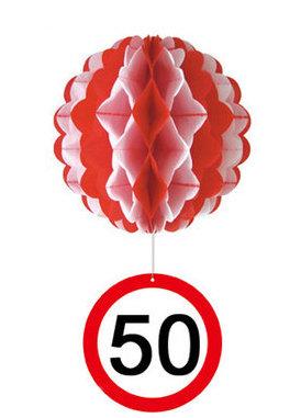 """Geburtstagsdekoration Hänge-Deko """"50"""" Wabenball"""