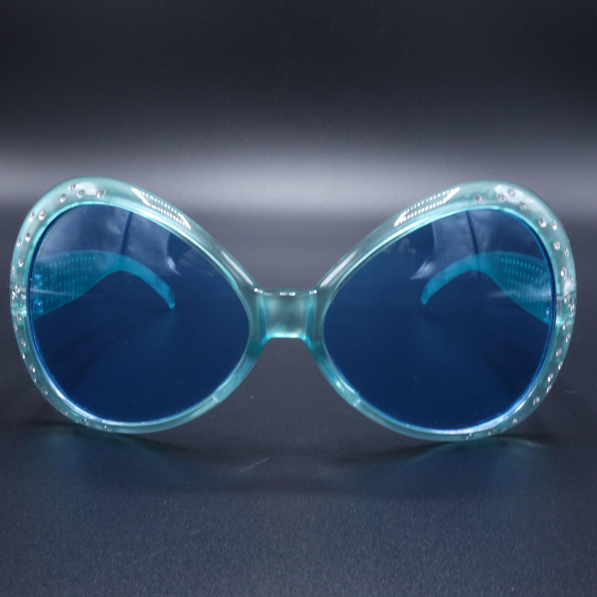 Partybrille Spassbrille Scherzarikel Große Blaue Brille Mit Glitzersteinen