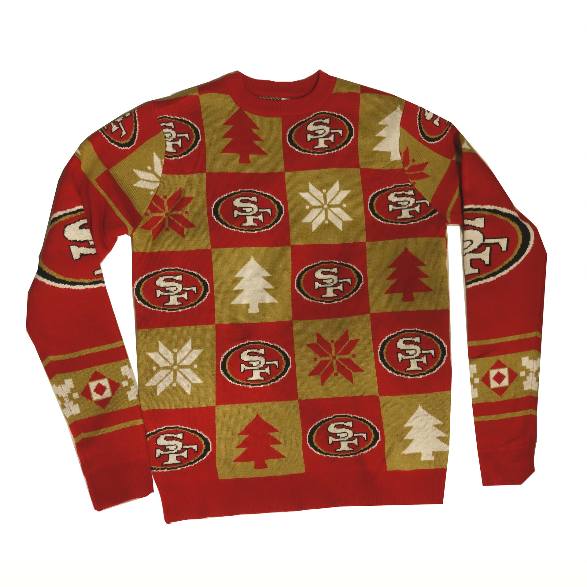 NFL Ugly Sweater San Francisco 49ers Schachbrettmuster Weihnachtspullover