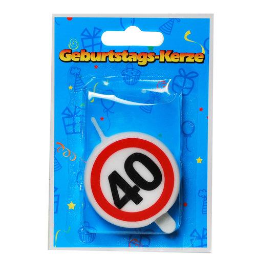 """Geburtstagsdekoration Geburtstagskerze """"40"""" Kerze rund"""