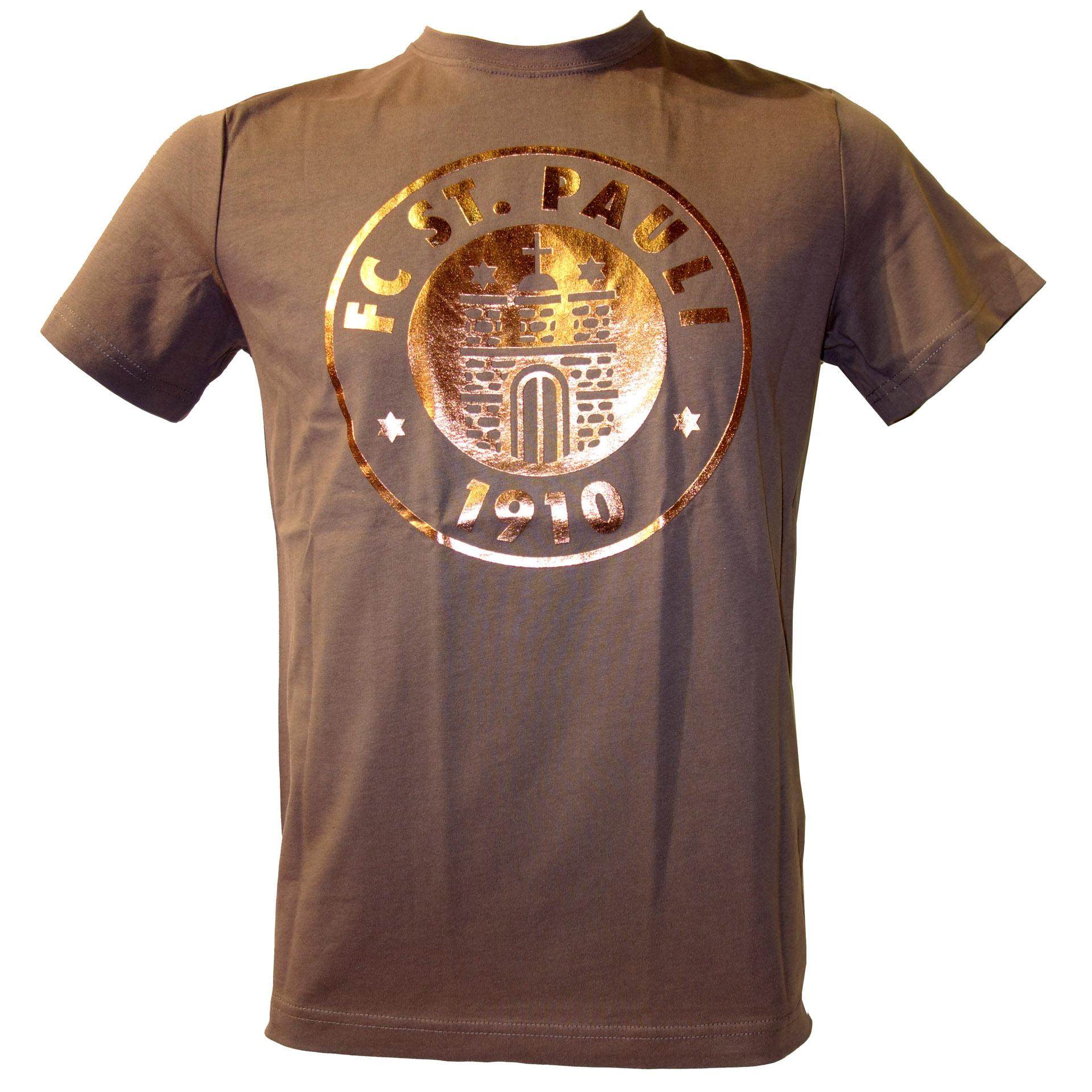 FC St. Pauli T-Shirt Logo braun glänzend