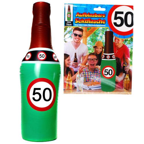 """Geburtstagsdekoration aufblasbare Sektflasche """"50"""" Party-Deko"""