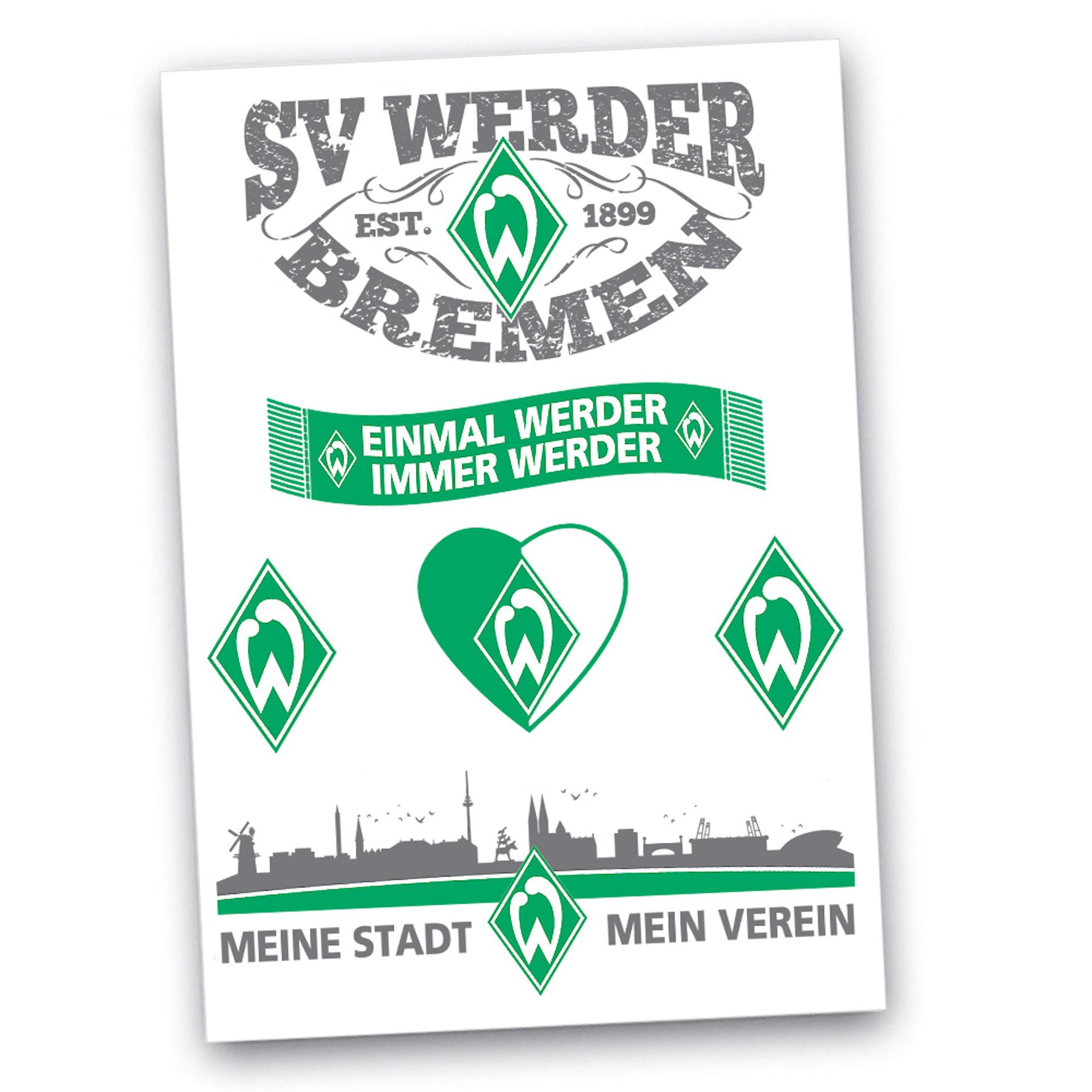 Werder Bremen Aufkleberkarte Sticker-Set