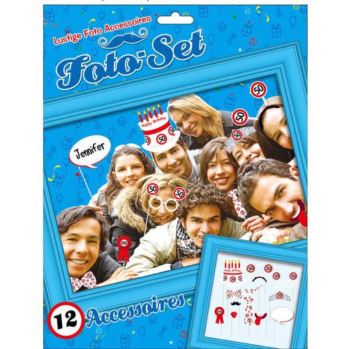 """Geburtstagsdekoration Partyidee Foto-Set """"50"""" Lustige Foto Accessoires"""