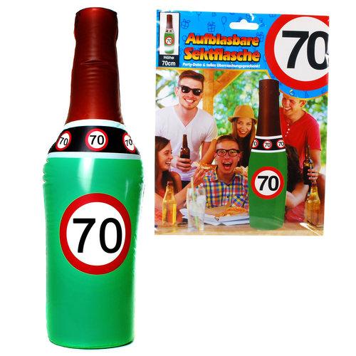 """Geburtstagsdekoration aufblasbare Sektflasche """"70"""" Party-Deko"""