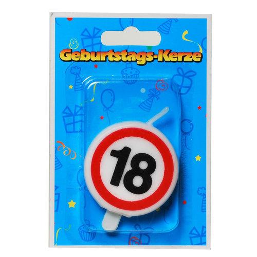 """Geburtstagsdekoration Geburtstagskerze """"18"""" Kerze rund"""