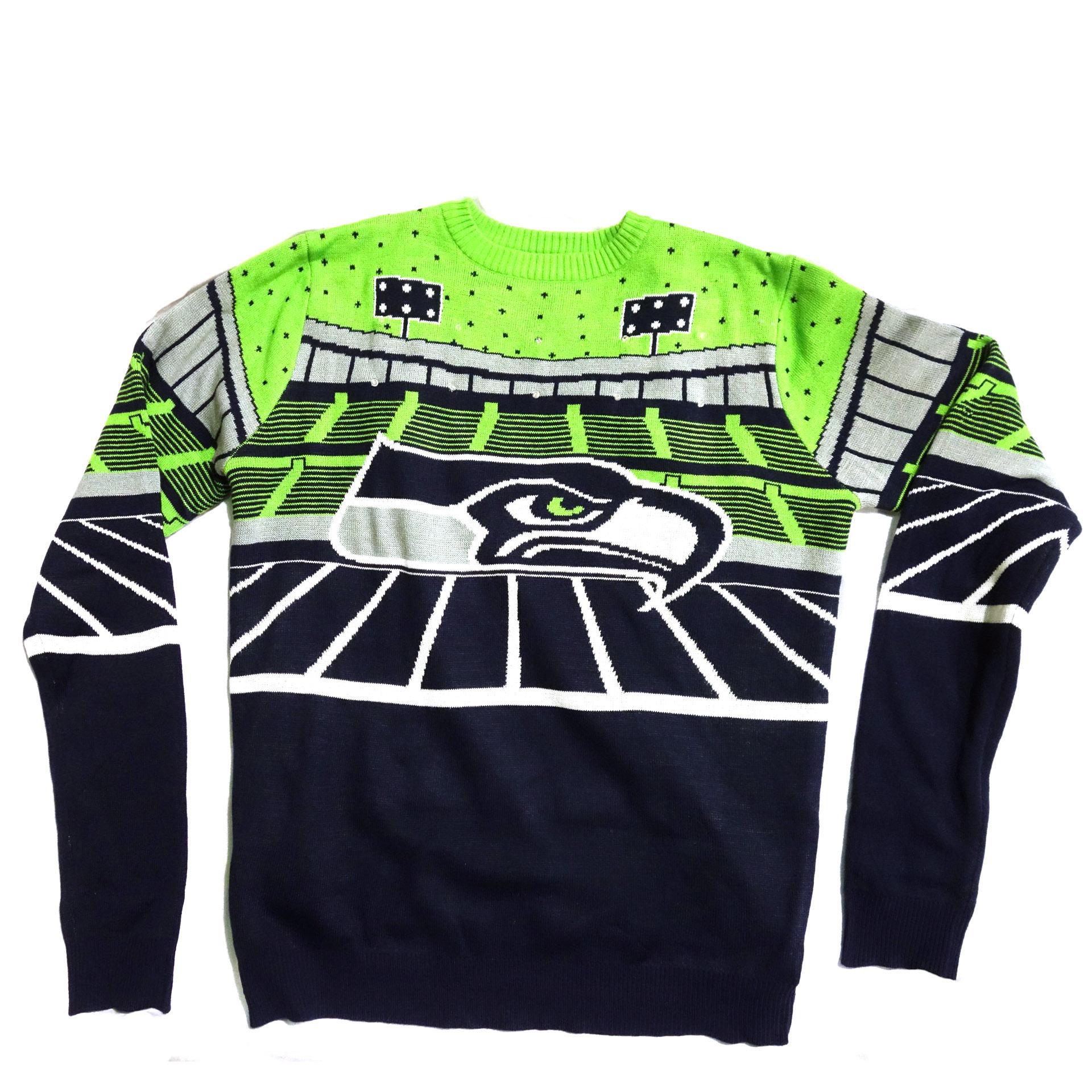 NFL Ugly Sweater Seattle Seahawks Weihnachten Pullover mit Lichtern