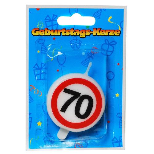 """Geburtstagsdekoration Geburtstagskerze """"70"""" Kerze rund"""