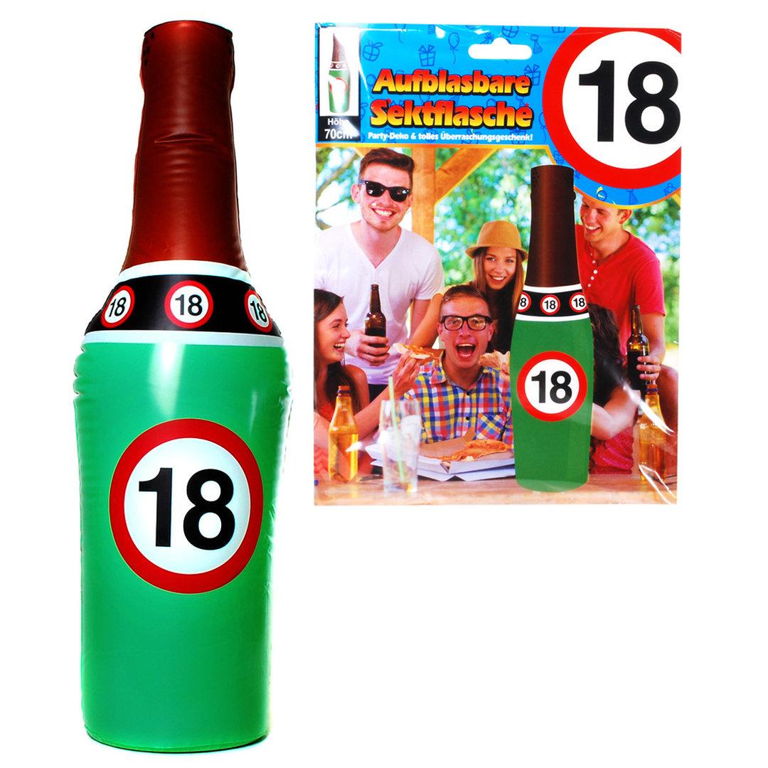 """Geburtstagsdekoration aufblasbare Sektflasche """"18"""" Party-Deko"""