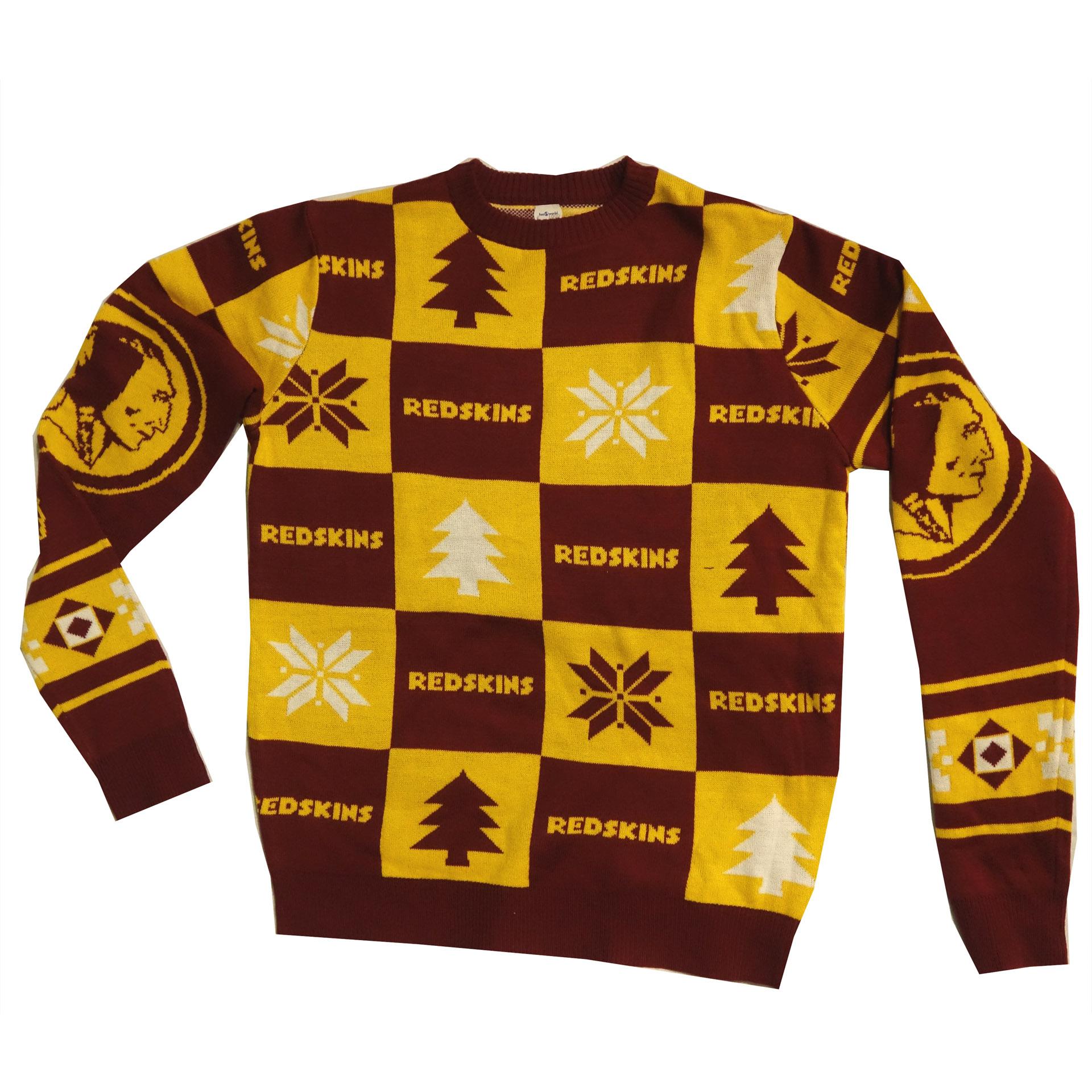 NFL Ugly Sweater Washington Football Team Redskins Schachbrettmuster Weihnachtspullover