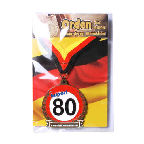"Geburtstagsgeschenk Orden mit Karte ""80"" Kette Geschenkidee"