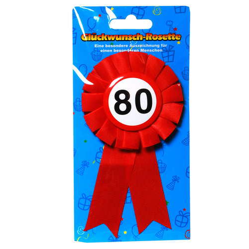 """Geburtstagsdekoration """"80"""" Geschenkidee Rosette Anstecker"""
