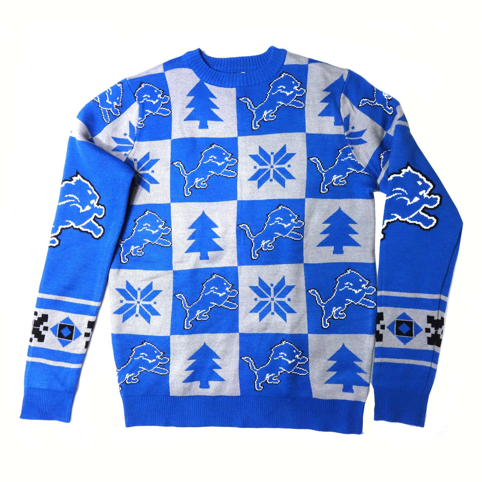 NFL Ugly Sweater Detroit Lions Schachbrettmuster Weihnachtspullover