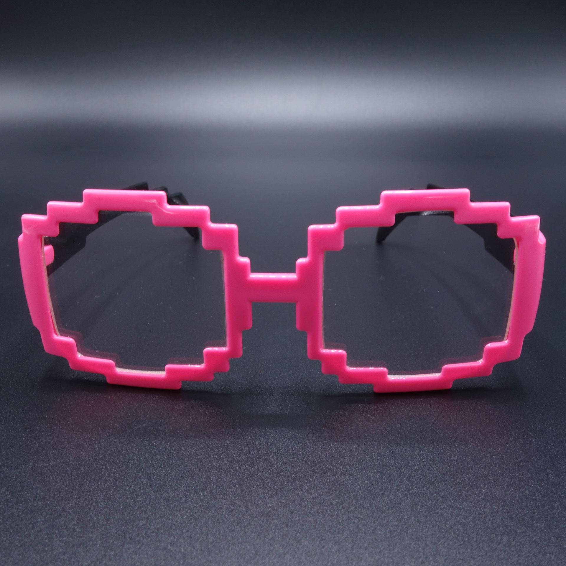 Partybrille Spassbrille Scherzartikel Brille Kantig Pink